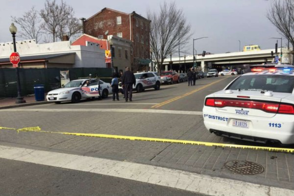 shooting at 1000 block of L Street SE (Photo via Twitter/ DC Police Department)