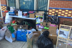 Donations for Miner Yard Sale, photo via Miner Elementary